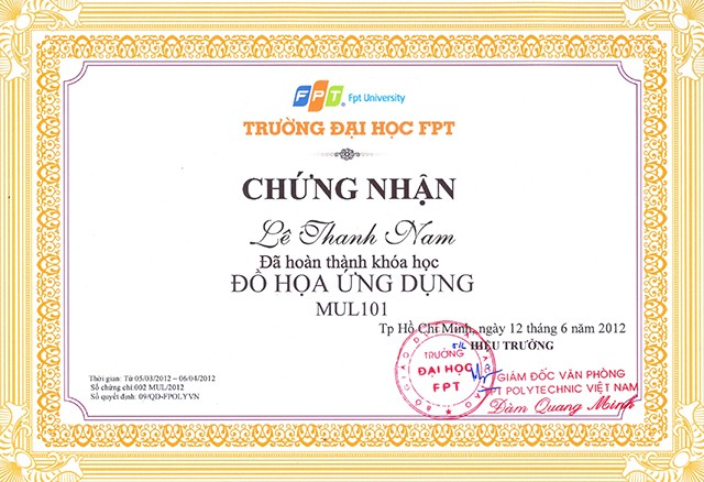 in chứng chỉ học FPT