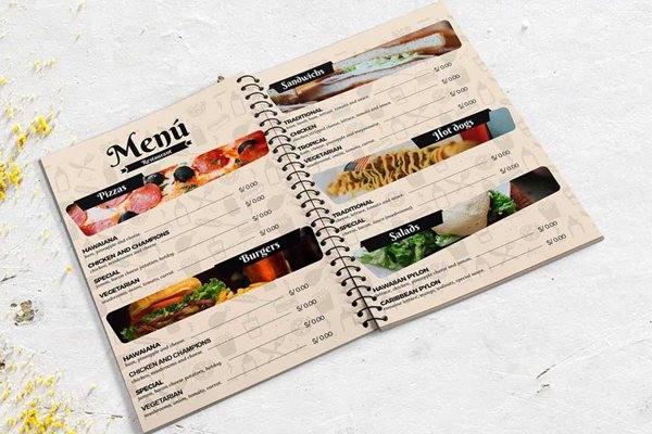 Mẫu menu nhà hàng đồ Tây đẹp