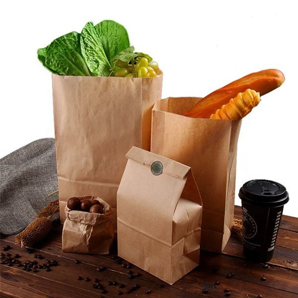 Mẫu túi giấy kraft không quai đựng thực phẩm thức ăn